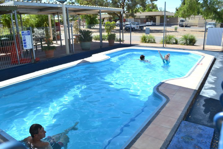Outdoor heated pool for year round swimming at Broken Hill Tourist Park