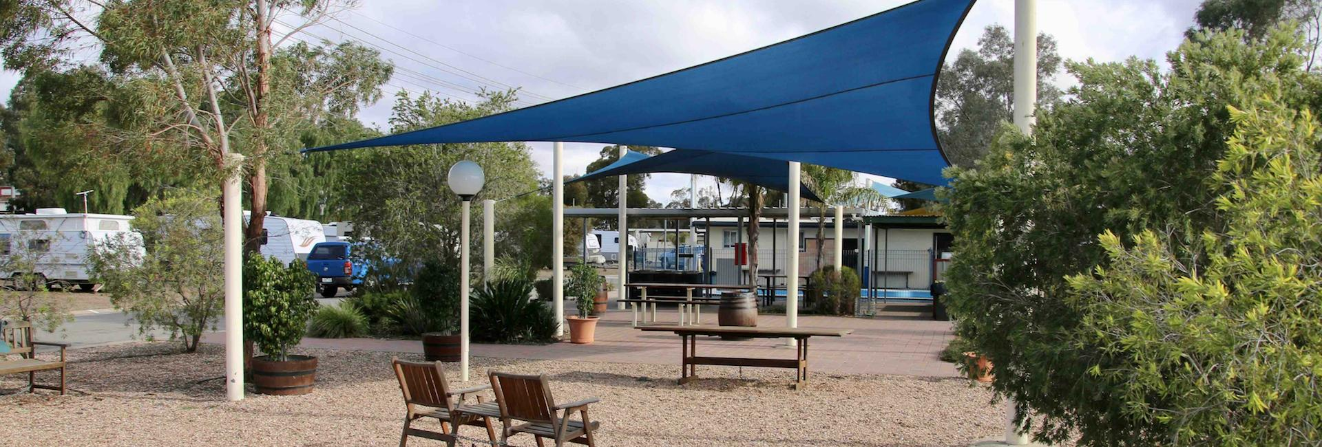 Shaded relaxation area at Broken Hill Tourist Park